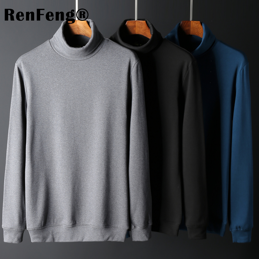 Sweater thicken Men 2018 Male Brand Casual Slim T shirts Man Pullover Men Knitwear Double collar Turtleneck Mens Underwear XXXL