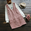 Plus tamaño de primavera mujeres casual simple dress ping color suave flojo v cuello de pana femenina chaleco sin mangas vestidos vestido u602