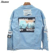 Xnxee 2018 Spring New Women Jacket Letter Patch Casual Light Blue Denim Hot Sale Fashion S-L
