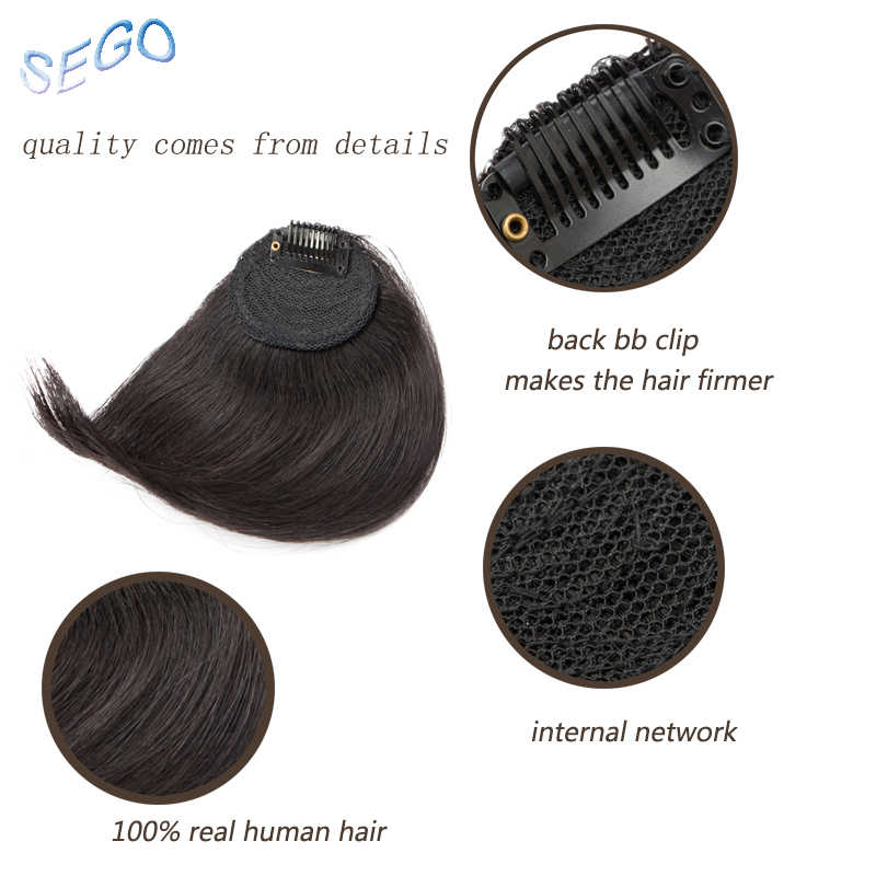 SEGO 10*12 Pure Color Human Hair Bangs Gradient Bangs Straight Clip In Hair Extension Bangs Non-Remy Human Hair Fringes 10g/pcs