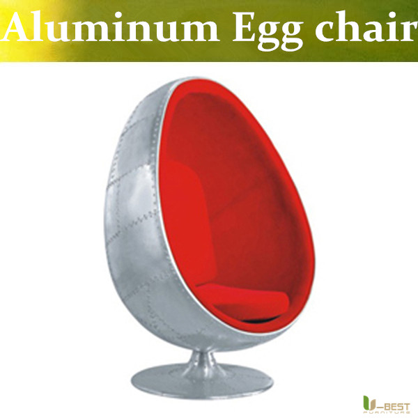 U-BEST Aluminum egg pod chair red cushion egg chair in wool cushion, Aviator Aero Metal Swivel Egg Chair