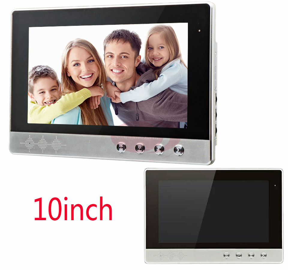 Intercom System 10 Color TFT lCD Screen Indoor Monitor Hands-Free Monitor/Talk/Unlock/Video Interphone Monitor Video DoorPhone 7 inch video doorbell tft lcd hd screen wired video doorphone for villa one monitor with one metal outdoor unit night vision