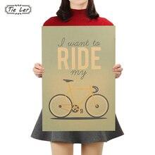 Póster Retro Shabby Chic quiero montar en mi bicicleta Vintage Poster Retro de papel decoración del hogar 51.5X36cm
