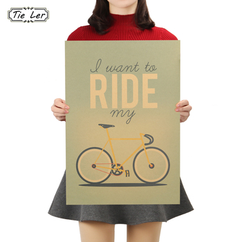 TIE LER Retro Shabby Chic I Want To Ride My Bicycle Vintage Poster Retro Paper Poster Home Decoration 51.5X36cm image