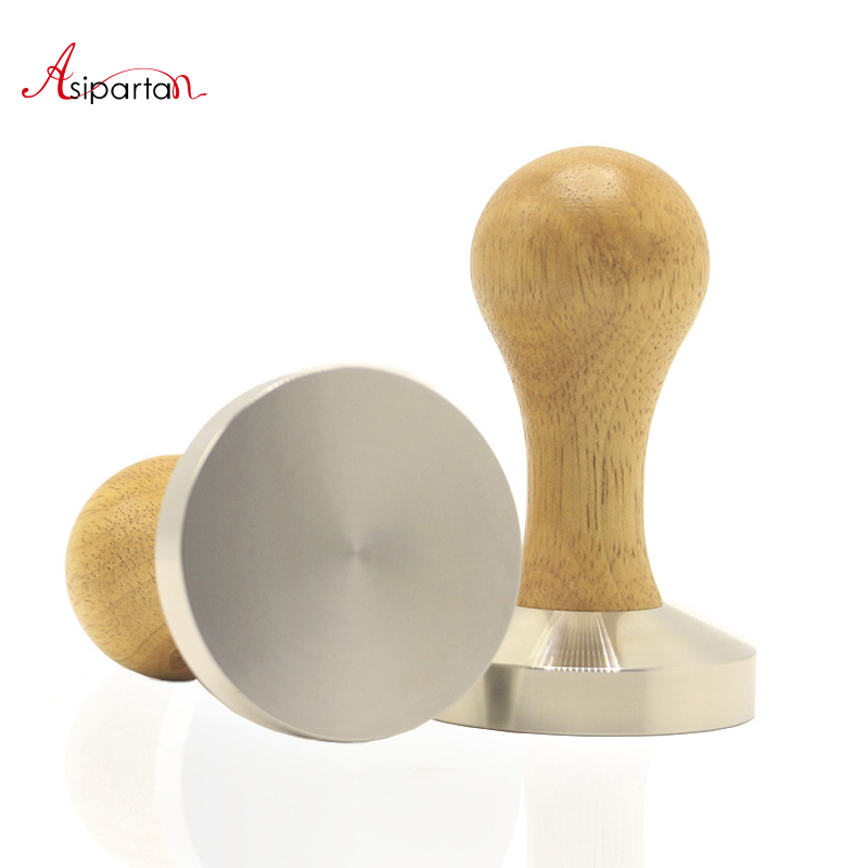 Asipartan Wooden Handle Coffee Tamper 58mm Stainless Steel Flat Base Coffee Beans Pressure Powder Hammer Cafe Barista Tool