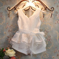 2016 new summer style children's clothing noble ventilation grid subnet vest + shorts suit  girl clothes white suit  4-10 age