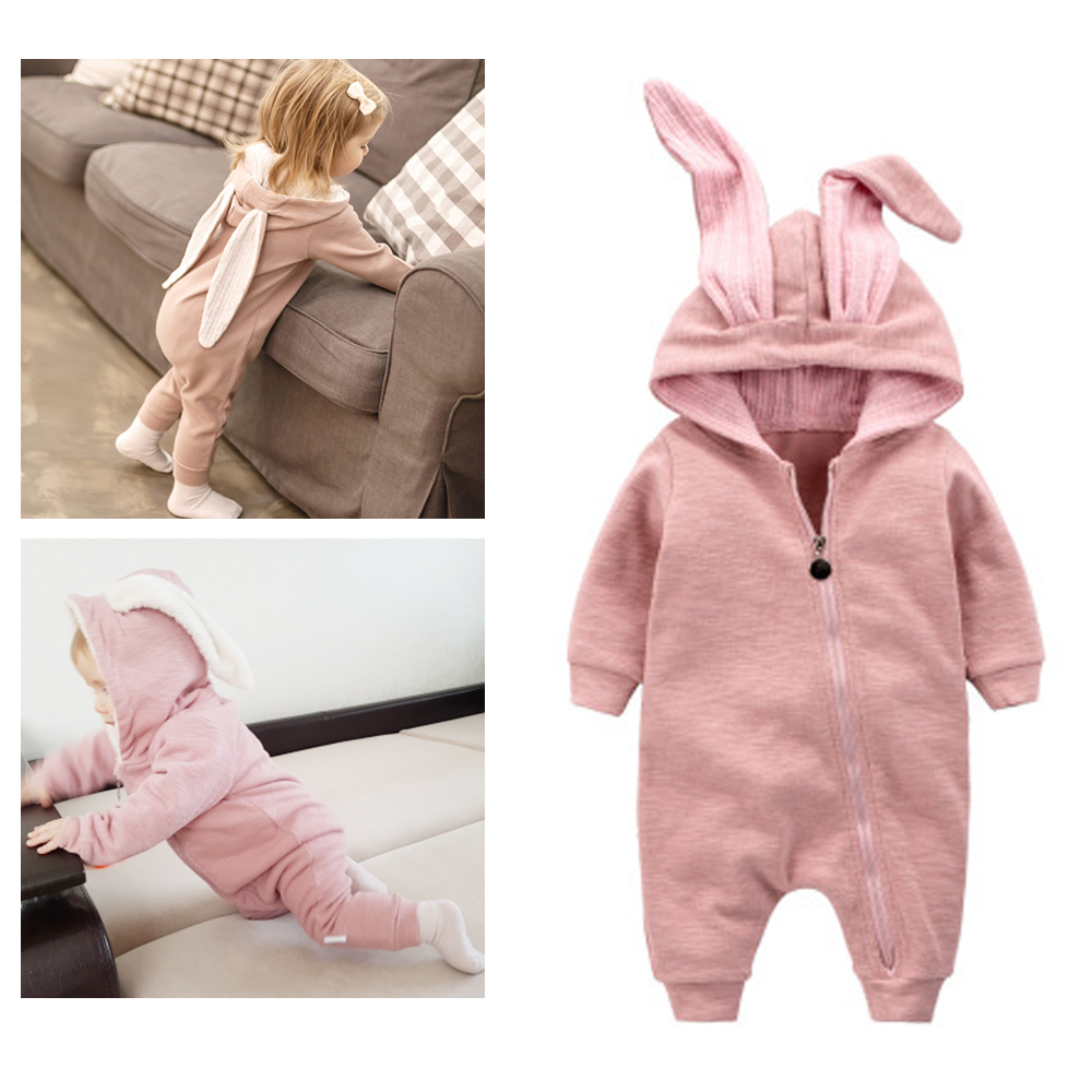 2018 Newborn Infant Baby Girl Boy Clothes Cute 3D Bunny Ear   Romper   Jumpsuit Playsuit Autumn Winter Warm Bebes   Rompers   One Piece