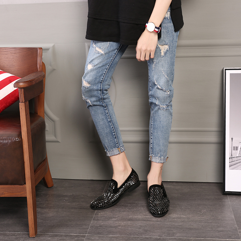 2018 New Fashion Tenis Casual Nahk Loafers Meeste Bean Fine Diamond - Meeste jalatsid - Foto 4