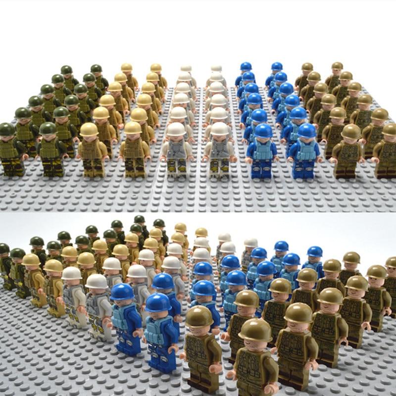 Enlighten 6pcs Soldiers Education Building Blocks Compatible Military Mini Bricks Figures Boys Toys Gifts For Kids