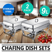 Komfoor Buffet 2 Packs Rvs 8 Quart Full Size Pan Rechthoekige Chafer Complete Set Ideaal voor Bruiloft of party(China)