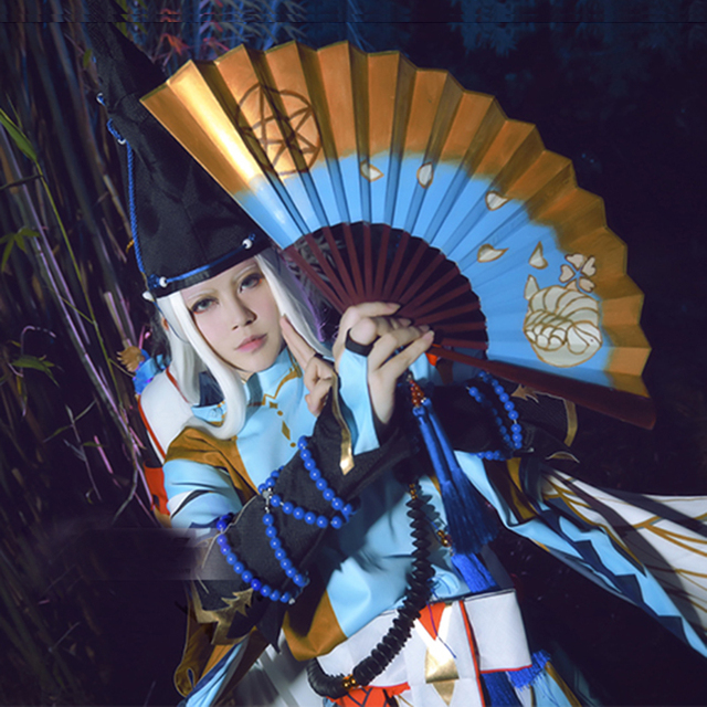 Onmyoji Game Abeno Seimei Cosplay Satin Kimono White Blue Costume Full Set  Japanese Uniform Game Cosplay