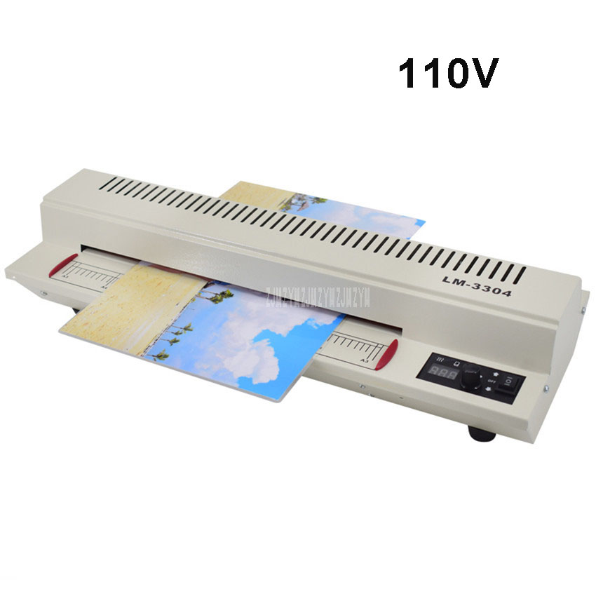 110 В 600 Вт фото документ Бумага A3 A4 ламинирования машина холодная/Горячий ламинатор ручка Температура отрегулировать Ширина 330 мм LM 3304 A3
