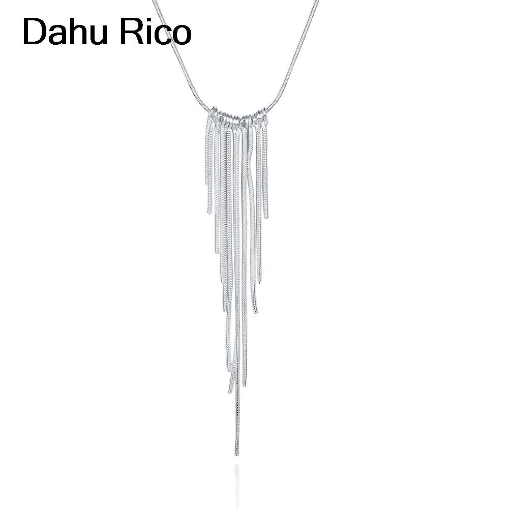 tassle colar collier pendentif pingente women damskie men fathers day en argent silver plated nappa borla de Dahu Rico necklaces