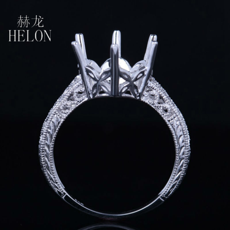 HELON Sterling Silver 925 Round Shape 9-10mm Semi Mount Vintage Antique Style Ring Engagement Wedding Ring Women's Jewelry