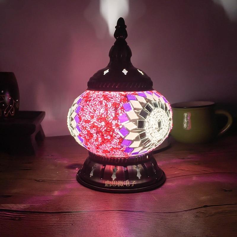 Новейшая Турецкая мозаика Настольная лампа винтажная арт-деко ручная работа lamparas de mesa стеклянная романтическая кровать светильник lamparas con ...