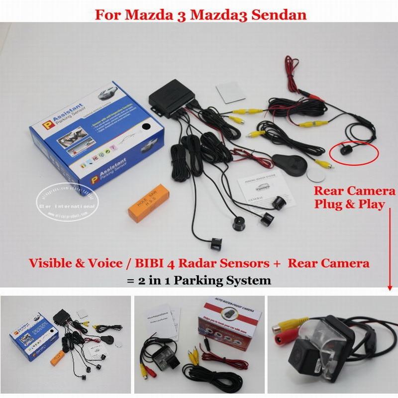 ФОТО For Mazda 3 Mazda3 Sendan - Car Parking Sensors + Rear View Back Up Camera = 2 in 1 Visual Alarm Parking System