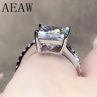 AEAW 4CT Radiant Cut GH Moissanite Engagement Ring in 18K White Gold AU750 Diamond Fine Jewelry For Women
