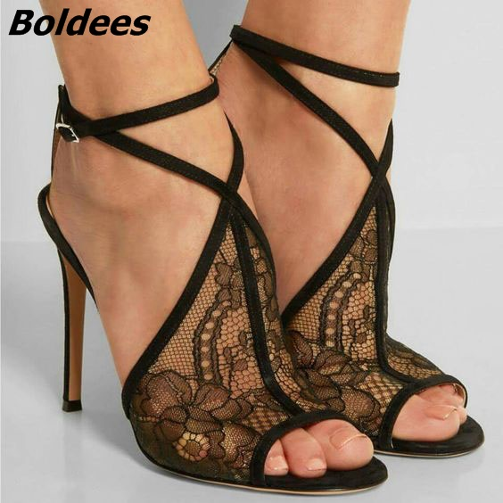 New Arrival Women Fancy Black Lace Stiletto Heel Dress Sandals Sexy Peep Toe Buckle Sandals Trendy Women Summer Shoes HotSelling trendy style stiletto heel and double buckle design women s sandals