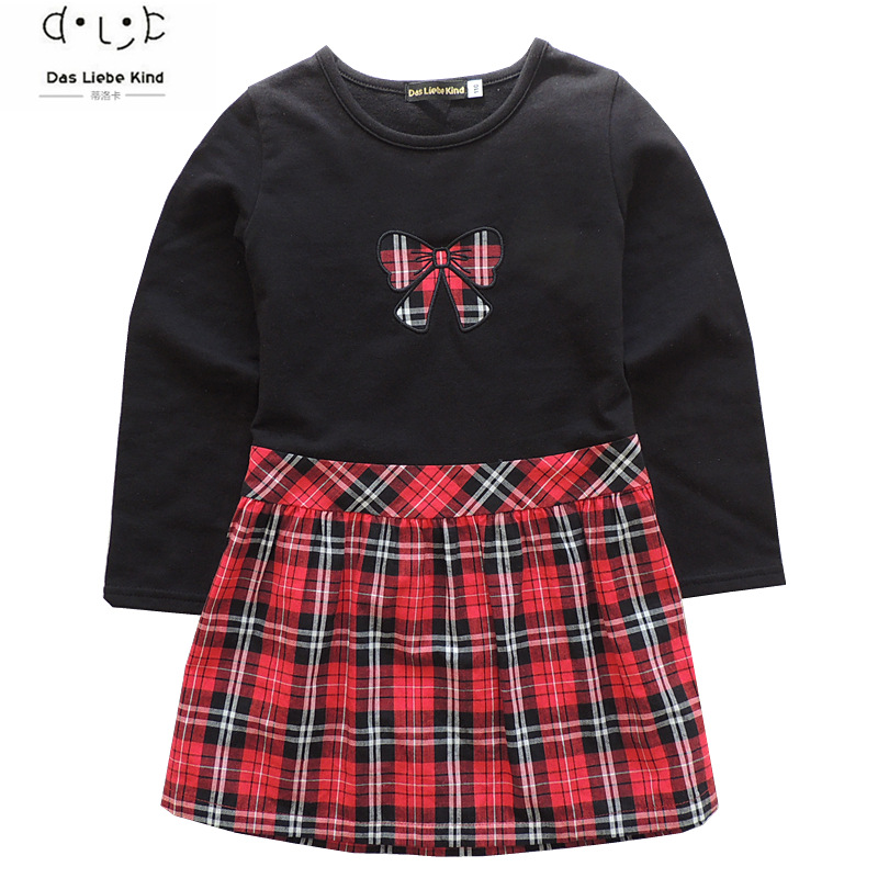 Spring/autumn baby girls long-sleeved dress kids princess England style plaid bow children clothes high quality