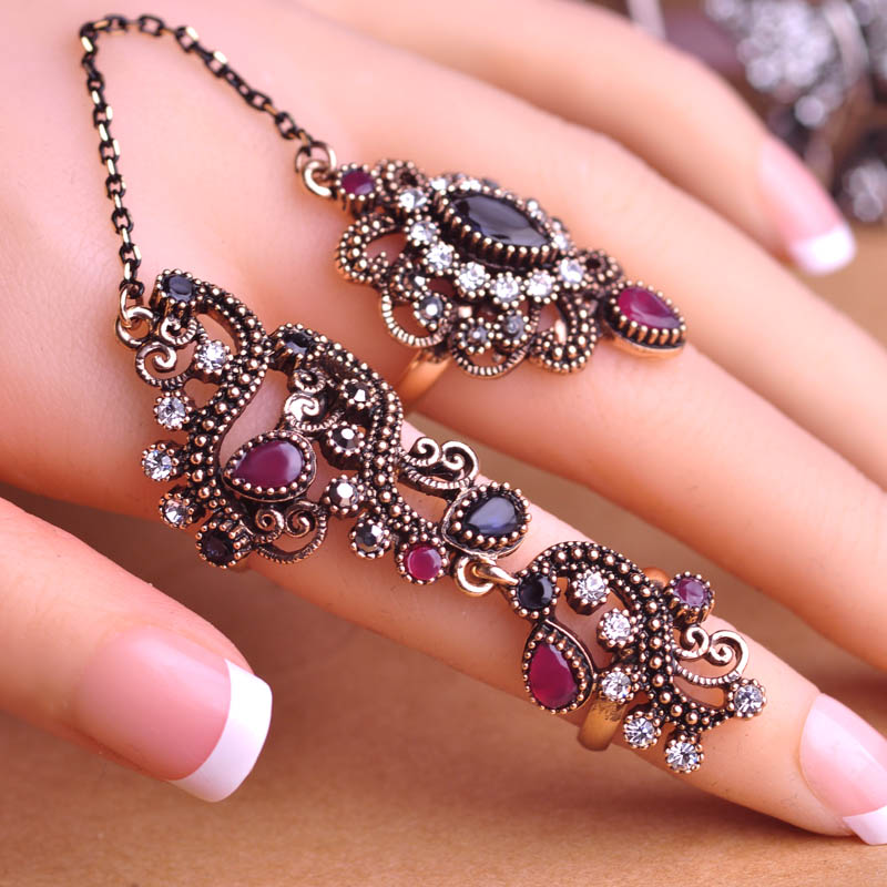 blucome new arrival adjustable turkish two finger rings for party