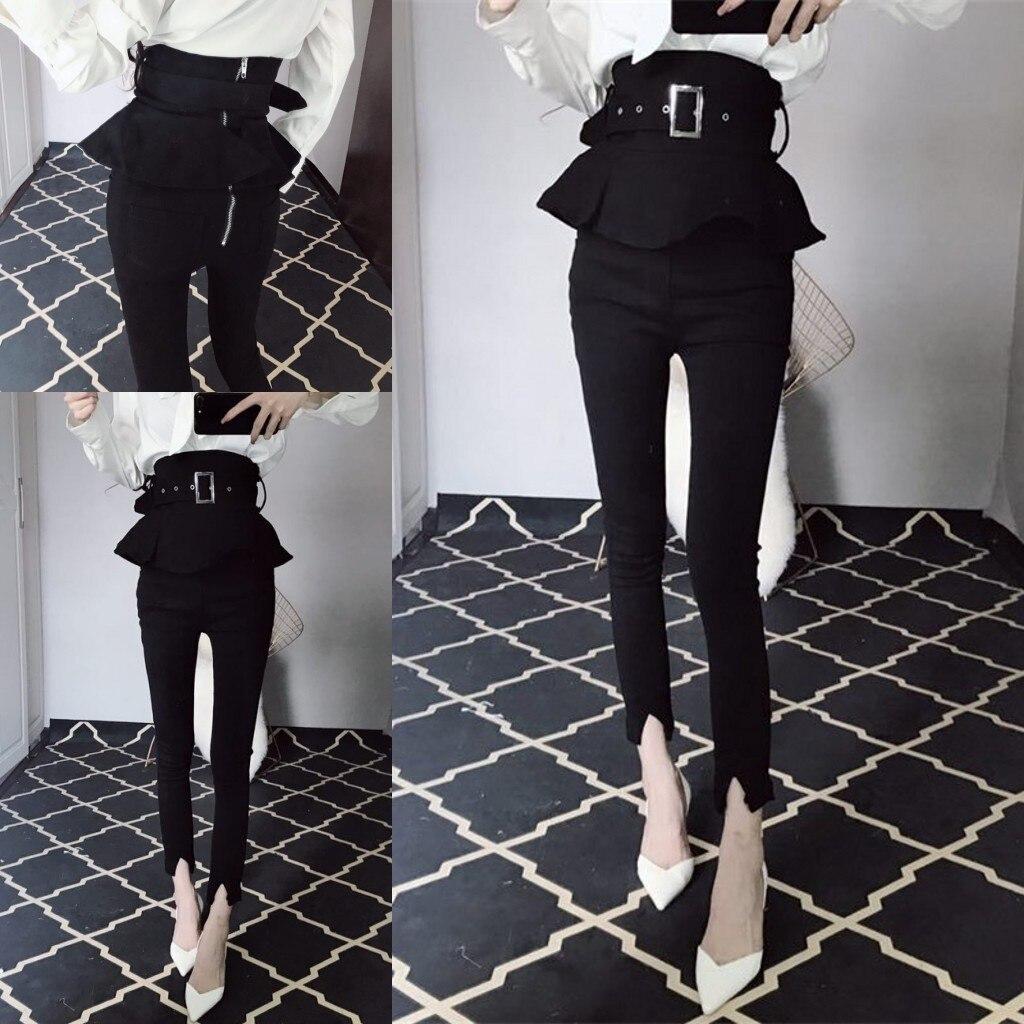 Streetwear Women Fashion Trousers High Waist Ruffles Peplum Skinny Pants Tunic Zipper Back Chic Black Pants Pantalons Mujer