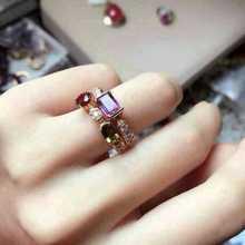 Кольцо из натурального многоцветного турмалина, кольцо с натуральным драгоценным камнем из стерлингового серебра 925 пробы, модные элегантные женские вечерние ювелирные изделия