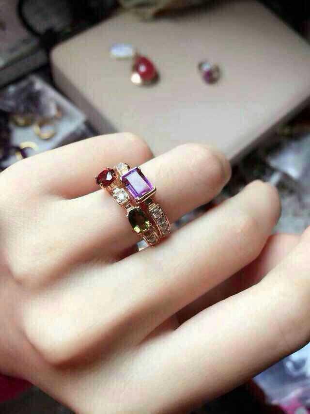 Bague en tourmaline multicolore naturelle bague en pierres précieuses naturelles 925 en argent sterling à la mode élégante bulle énergétique bijoux de fête pour femmes