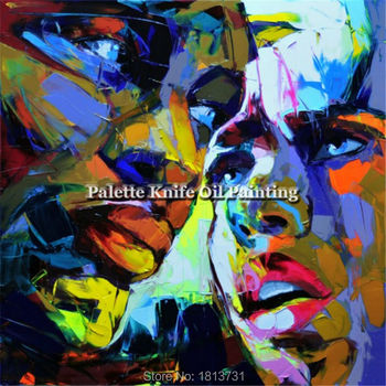 Francoise Nielly Hand painted Palette knife Face Oil painting Impasto figure on canvas Pop art Palette knife painting portrait 4
