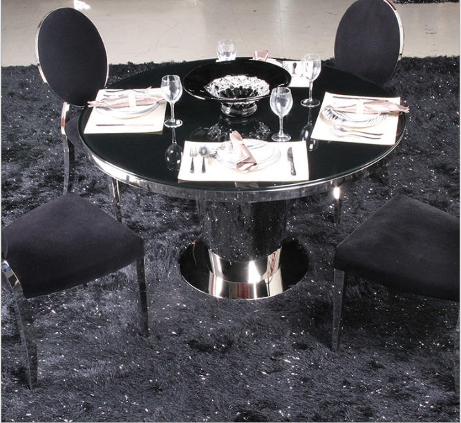 где купить Stainless steel Dining Room Set Home Furniture minimalist modern glass dining table and 4 chairs mesa de jantar muebles comedor по лучшей цене