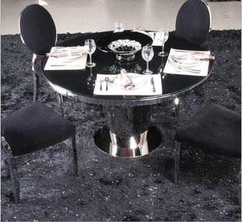 Stainless steel Dining Room Set Home Furniture minimalist modern glass dining table and 4 chairs mesa de jantar muebles comedor jantar для волос