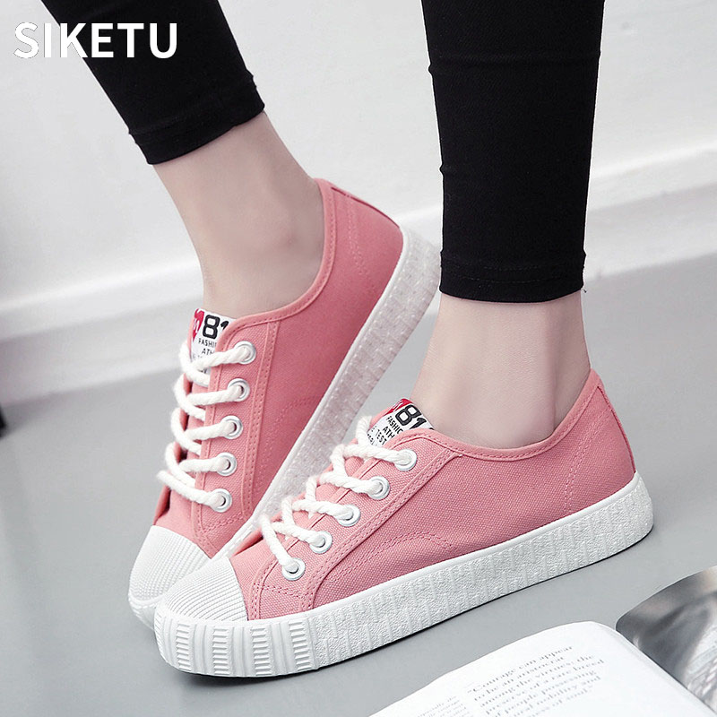 New Arrival Women Flat Canvas Shoes Lace-up Pink Color Female Casual Shoes Footwear Lady Fashion Sneaker zapatos mujer