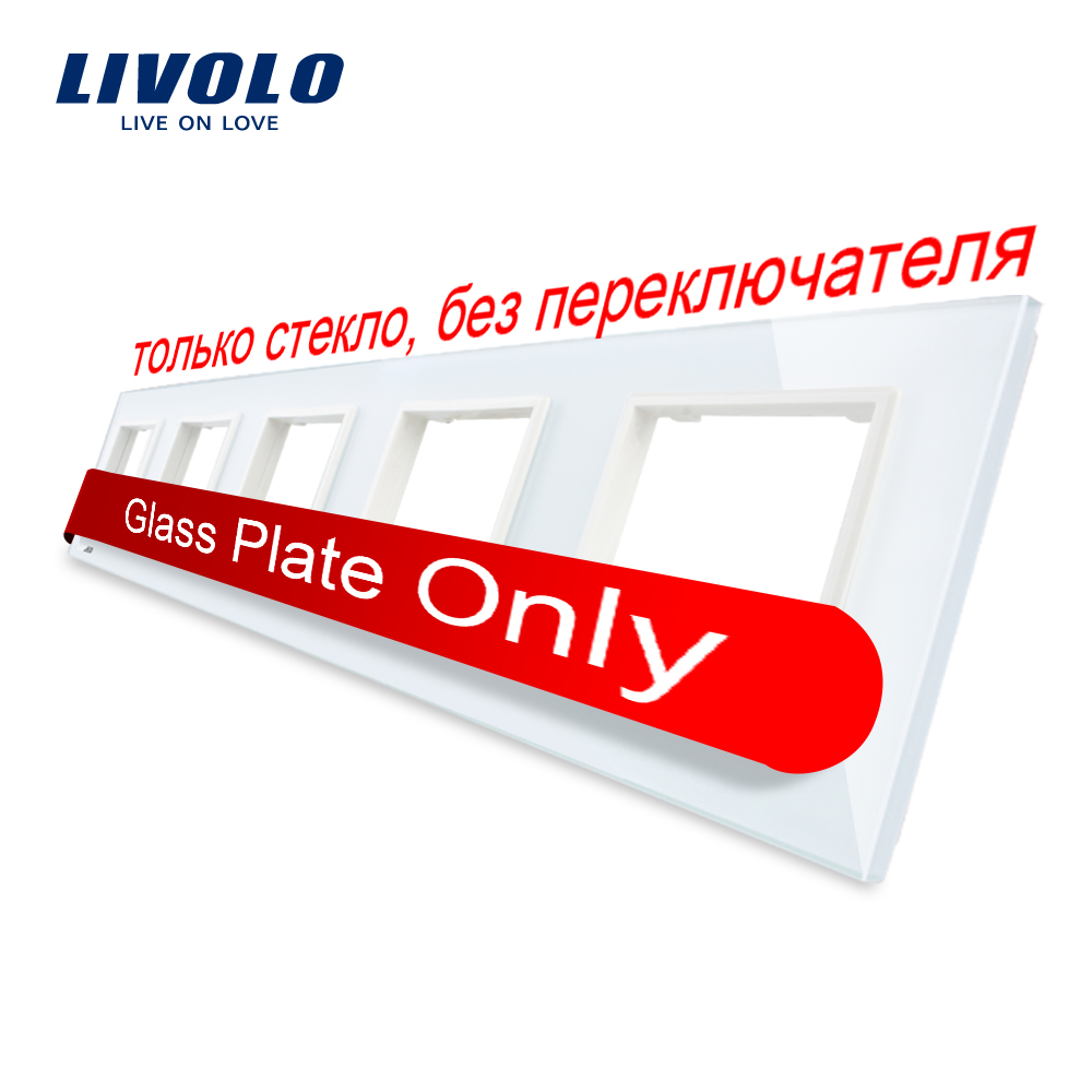 Livolo lujo cristal blanco cristal, 364mm * 80mm, estándar de la UE, quíntuple Panel de vidrio para pared C7-5SR-11