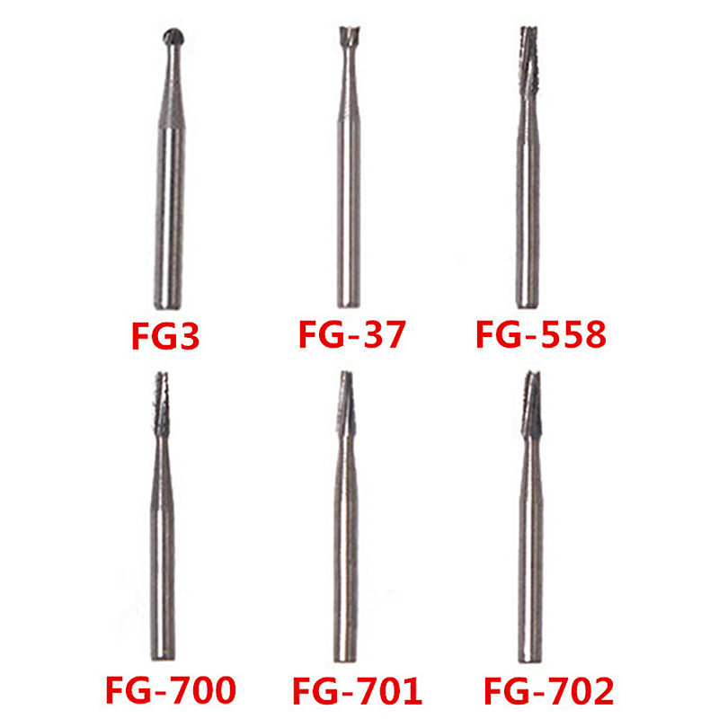 10pcs/pack Dental Tungsten Steel Carbide Burs Fissure Drill Bit For High Speed Handpiece 1.6mm Surgical Lab Tools Lenght 19mm