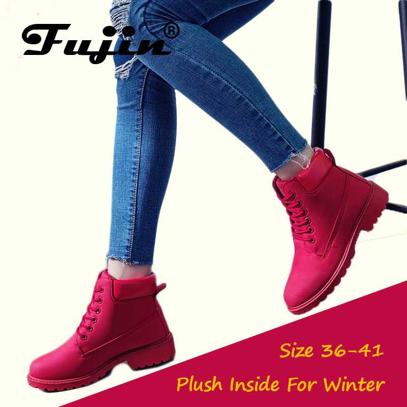 Fujin 2018 Spring Autumn Winter Boots Women Red Fashion Boots Ankle Plush Warm Women Winter Boots