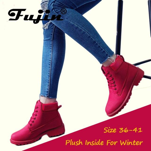 Fujin 2018 Ilkbahar Sonbahar Kış Çizmeler Kadın Kırmızı Moda Botları Ayak Bileği Peluş Sıcak Kadın Kışlık Bot Ayakkabı Su Geçirmez Kar Botları