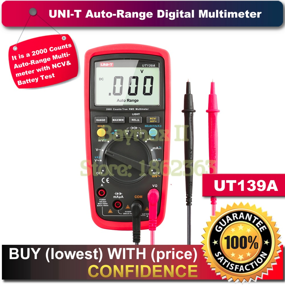 UNI-T UT139A True RMS Auto Range Digital Multimeter for AC/DC Current Voltage, Ohm Tester with Data Hold, NCV,and Battery Test vici vichy vc480c 3 1 2 digital milli ohm meter resistance tester 4 wire test lcd multimeter diagnostic tool tester data hold