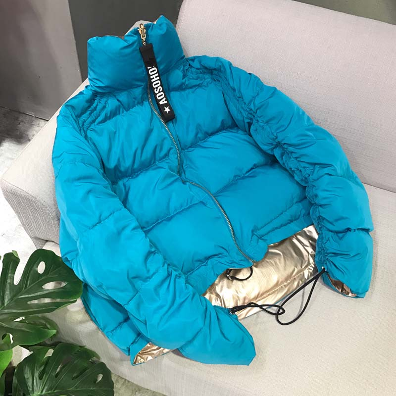Popular women's duck down short coat female lady's winter puffer parkas jacket two tone blue gold stand collar plus oversized