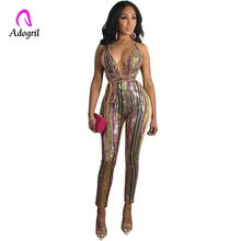 adogirl sequined stitching fashion night club party women jumpsuits deep v neck strap rompers one piece sexy outfits