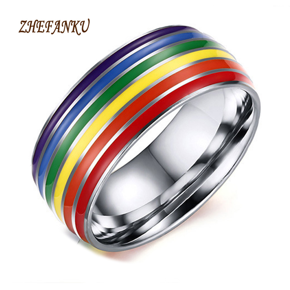 unisex classic enamel colourful rainbow stripe ring engagement wedding band ring stainle ...