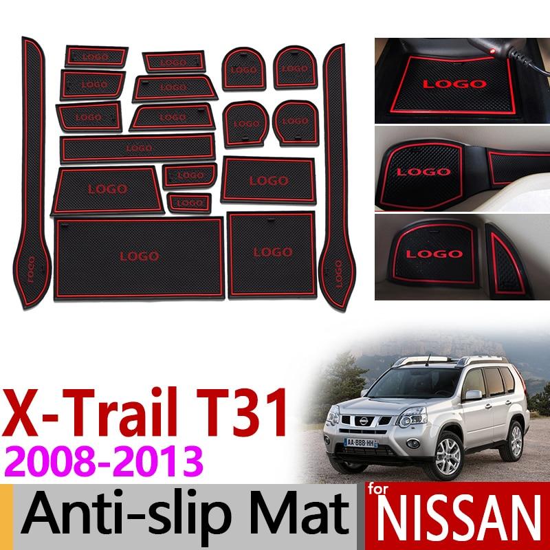 Pour Nissan X-trail T31 2008 ~ 2013 Anti-Slip En Caoutchouc Tasse Coussin Porte Groove Mat X Trail XTrail 2009 2010 2011 2012 Accessoires 19 p