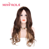 Miss Rola Long Wavy Wigs Synthetic Hair 1B# Black Kanekalon Wigs For Women 17.5 19 Inch Wigs 2 Colors Can Be Customized