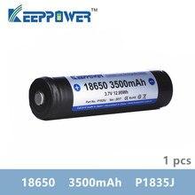 1 pcs KeepPower 3500mAh 18650 protetta batteria ricaricabile li ion 3.7V P1835J trasporto di goccia originale batteria