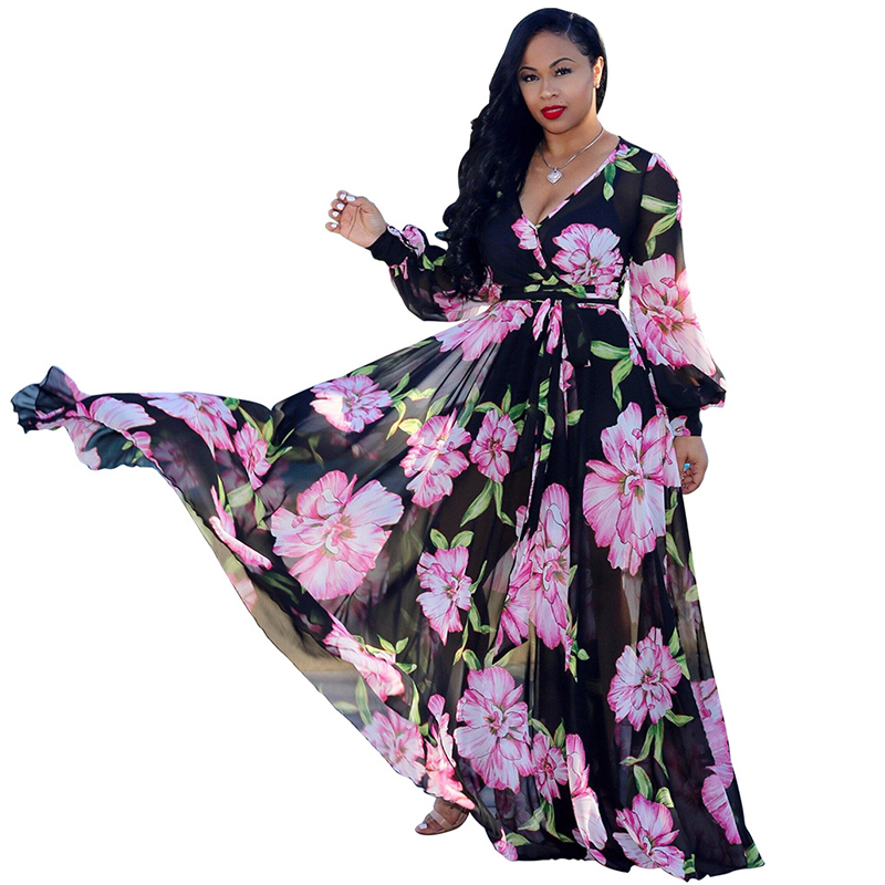 Floral Print Vintage Chiffon Dress 2019 Deep V Neck Long Lantern Sleeve Floor Length Dress Spring Plus Size Beach Maxi Dress