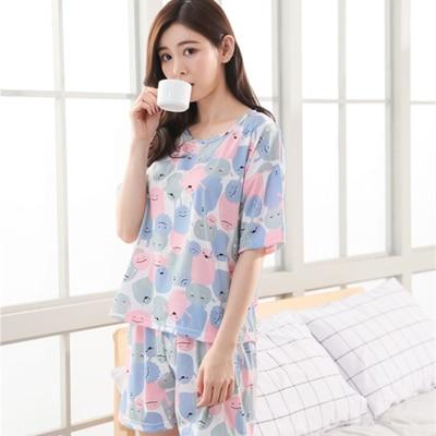 Fashion Women 2018 Summer NightWear Leisure Home Cloth Short Sleeve Thin Polyester Pajamas Sets Women Girl Sleepwear Set 4