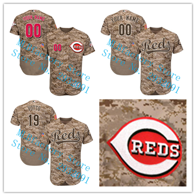 MLB Custom Camo Mens Cincinnati Reds Jersey Joey Votto Jersey 2018 New Arrivals