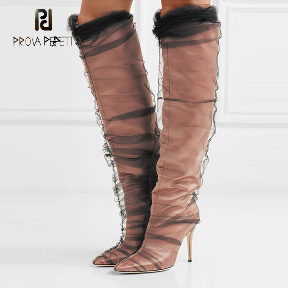 Prova Perfetto 2018 hot sale runway style knee high boots sexy pointed toe stiletto high heel boots mesh pvc new shoes womenProva Perfetto 2018 hot sale runway style knee high boots sexy pointed toe stiletto high heel boots mesh pvc new shoes women