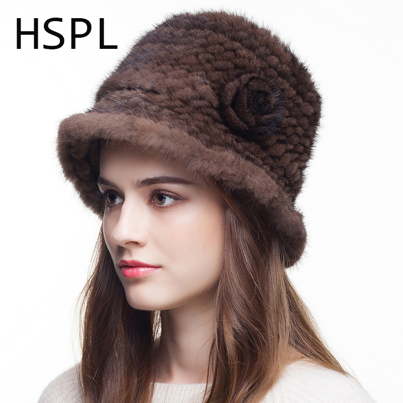 HSPL Women's Cap Knitted Mink fur hat For Women 2017 Fashion Winter Thick  Black Plus size Beanies Causual Lady Caps