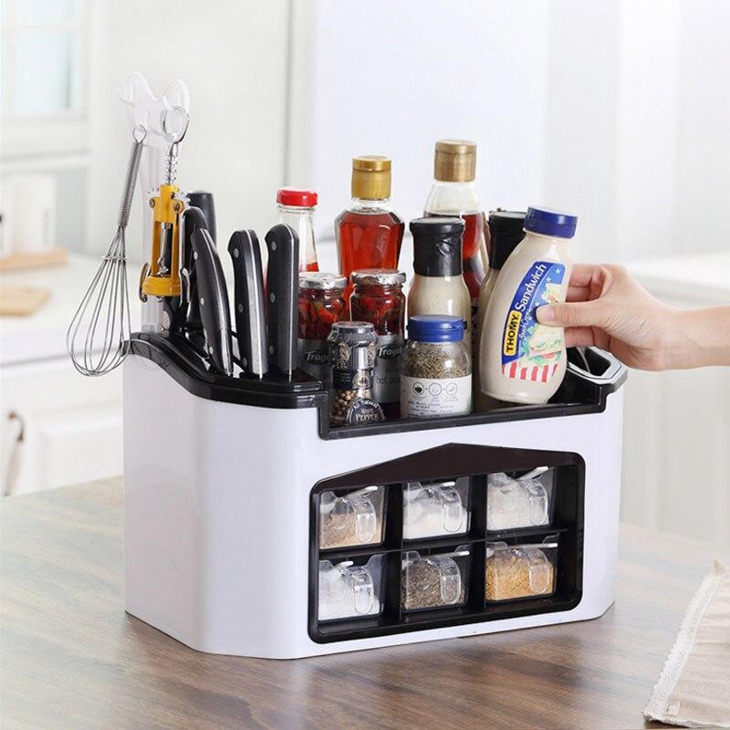 Étagère de rangement en plastique pour couteau/fourchette à épices étagère pour organisateur de cuisine en plastique pour accessoires de fournitures d'épices