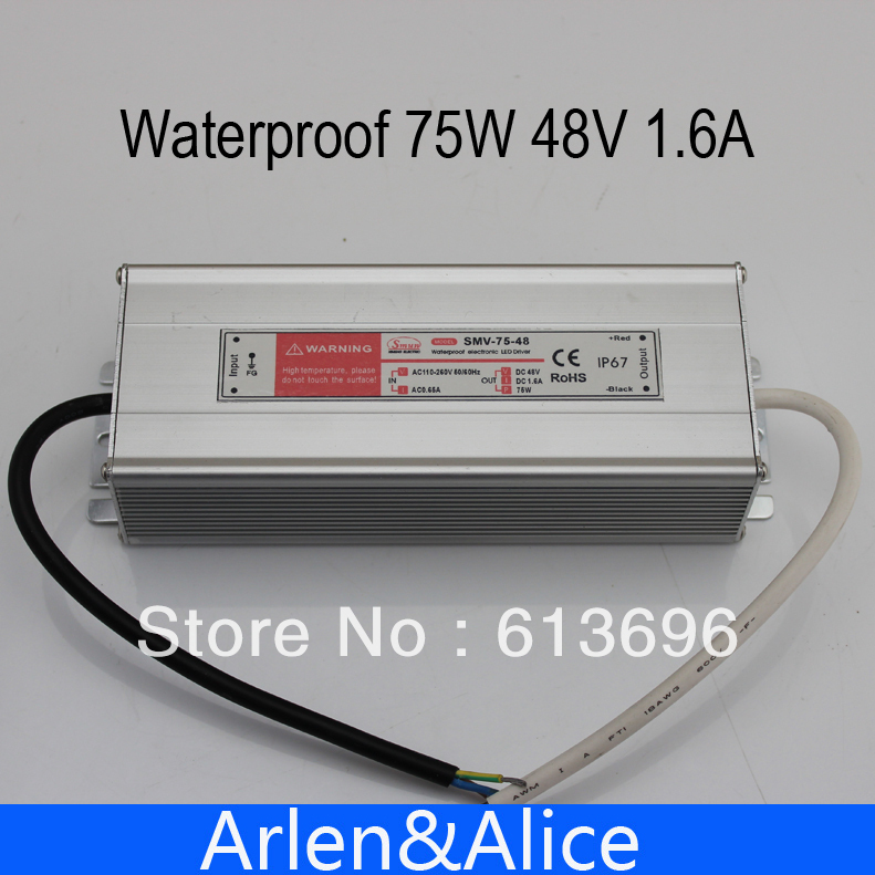 75W 48V 1.6A Waterproof outdoor Single Output Switching power supply SMPS AC TO DC