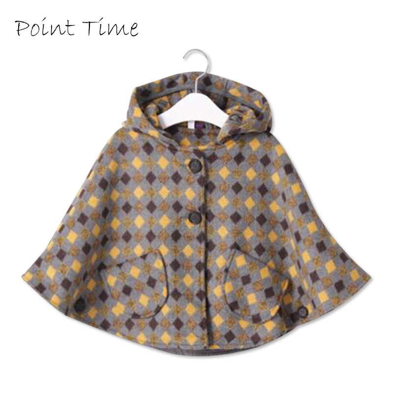 Sweet Style Girl Cloak Coat Cashmere Toddler Kids Winter Warm Wool Fleece Cape Poncho Cloak Hooded Children Clothes Outerwear pair of sweet cashmere hooded women s winter gloves with exposed fingers